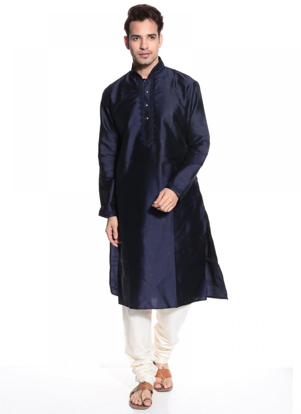 Navy Blue Tafeta silk Kurta Pyjama
