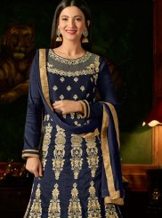 Navy Blue Thread Malbari Silk  Anarkali Salwar Suit
