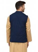 Navy Blue Weaving Reception Nehru Jackets