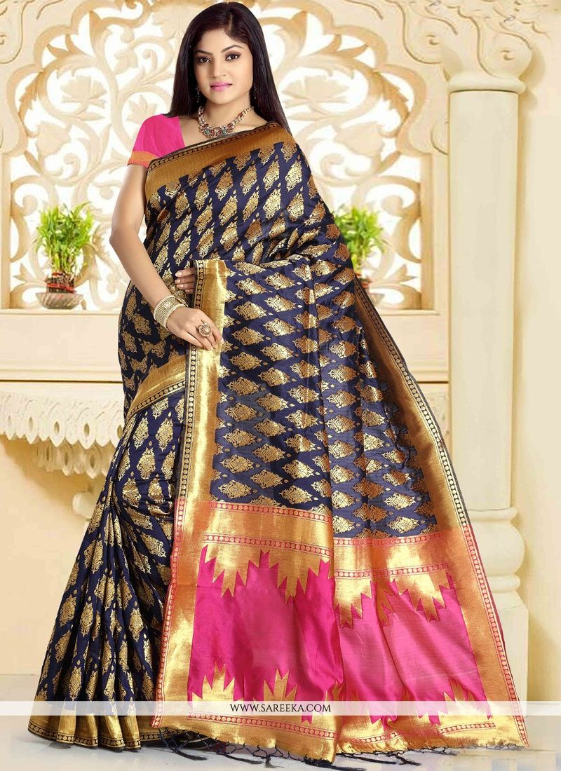 Navy Blue Weaving Work Art Silk Designer Traditional Saree
