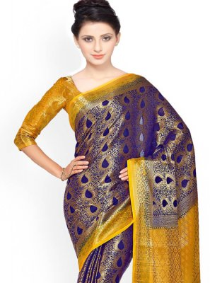 Navy Blue Weaving Work Classic Designer Saree