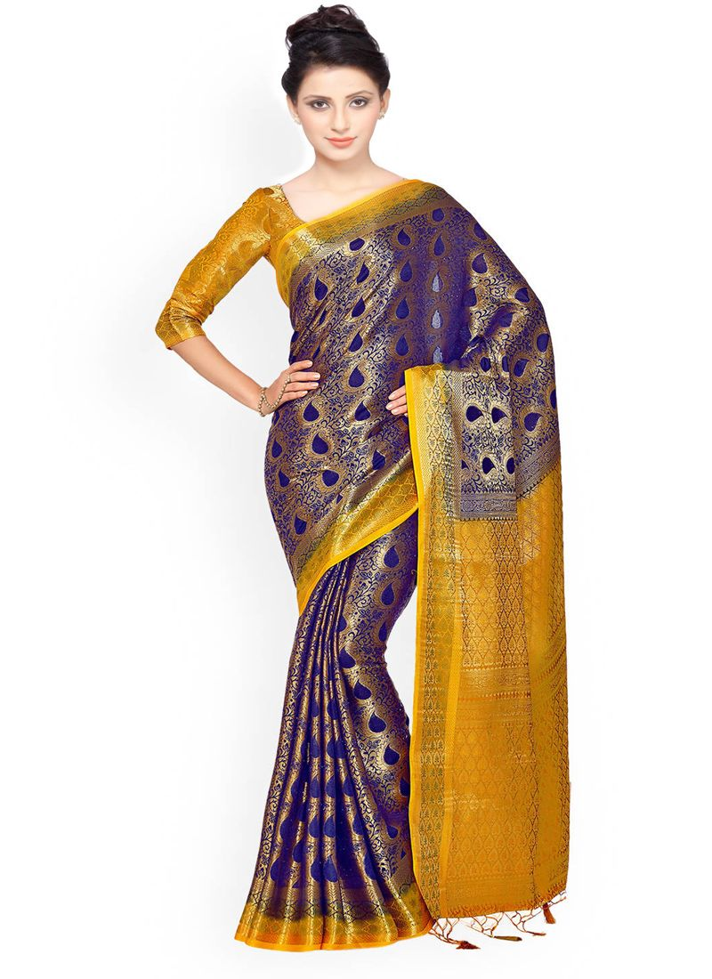 Navy Blue Weaving Work Classic Designer Saree