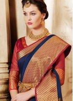 Navy Blue Weaving Work Cotton Silk Designer Traditional Saree