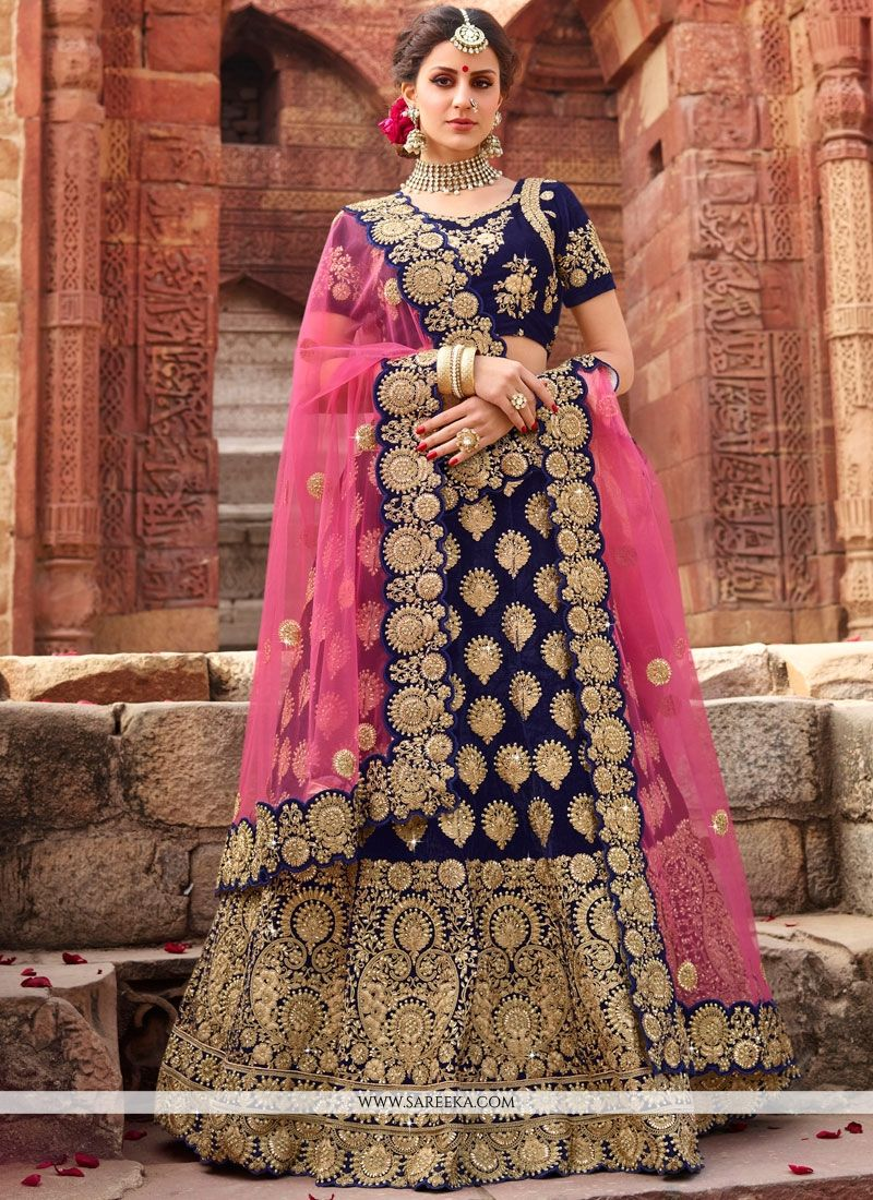 Navy Blue Zari Work Lehenga Choli