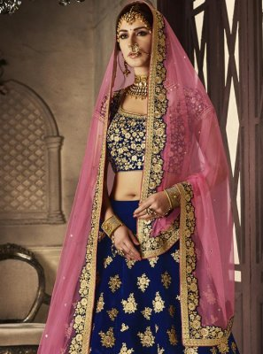Navy Blue Zari Work Velvet Lehenga Choli