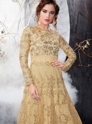 Net Beige Floor Length Anarkali Suit
