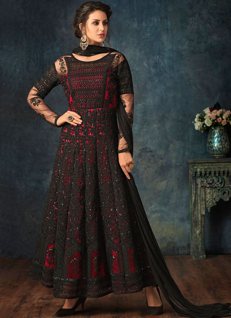 Net Black and Red Embroidered Anarkali Salwar Suit