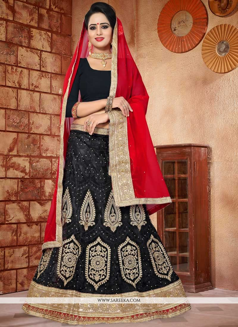 Net Black Resham Work Lehenga Choli