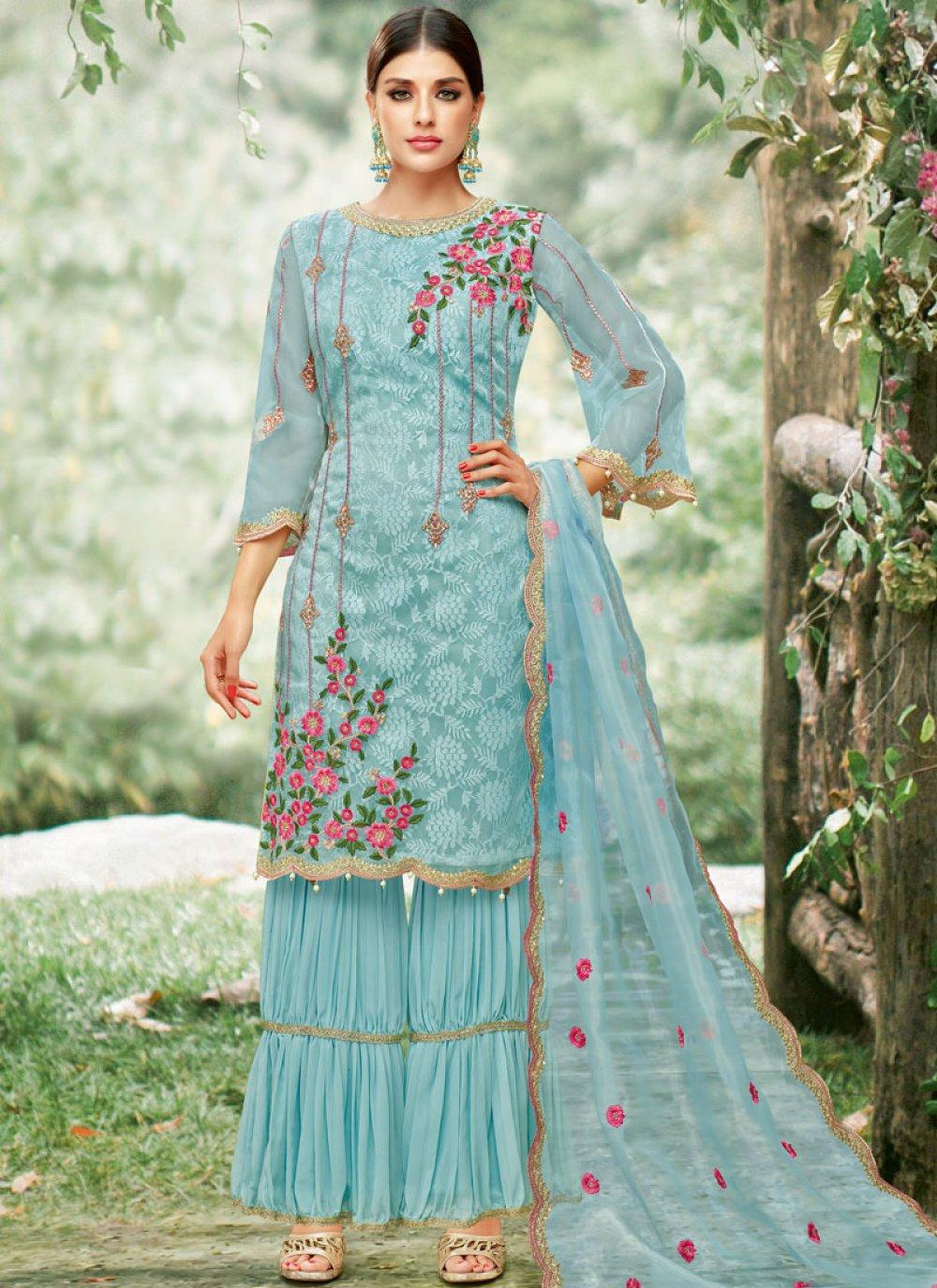 Net Blue Designer Palazzo Salwar Suit