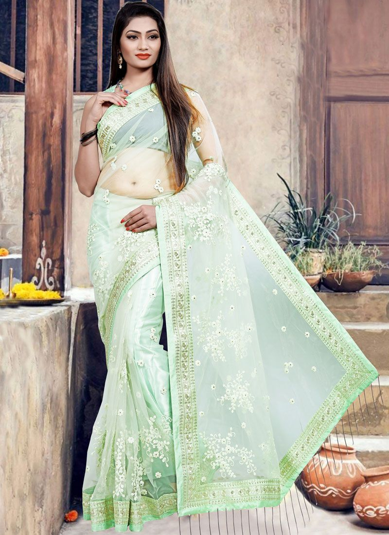 Net Designer Saree in Sea Green