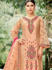 Net Embroidered Peach Pant Style Suit
