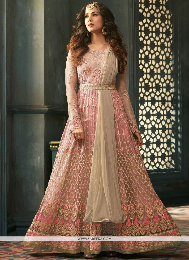 Net Embroidered Work Anarkali Salwar Kameez