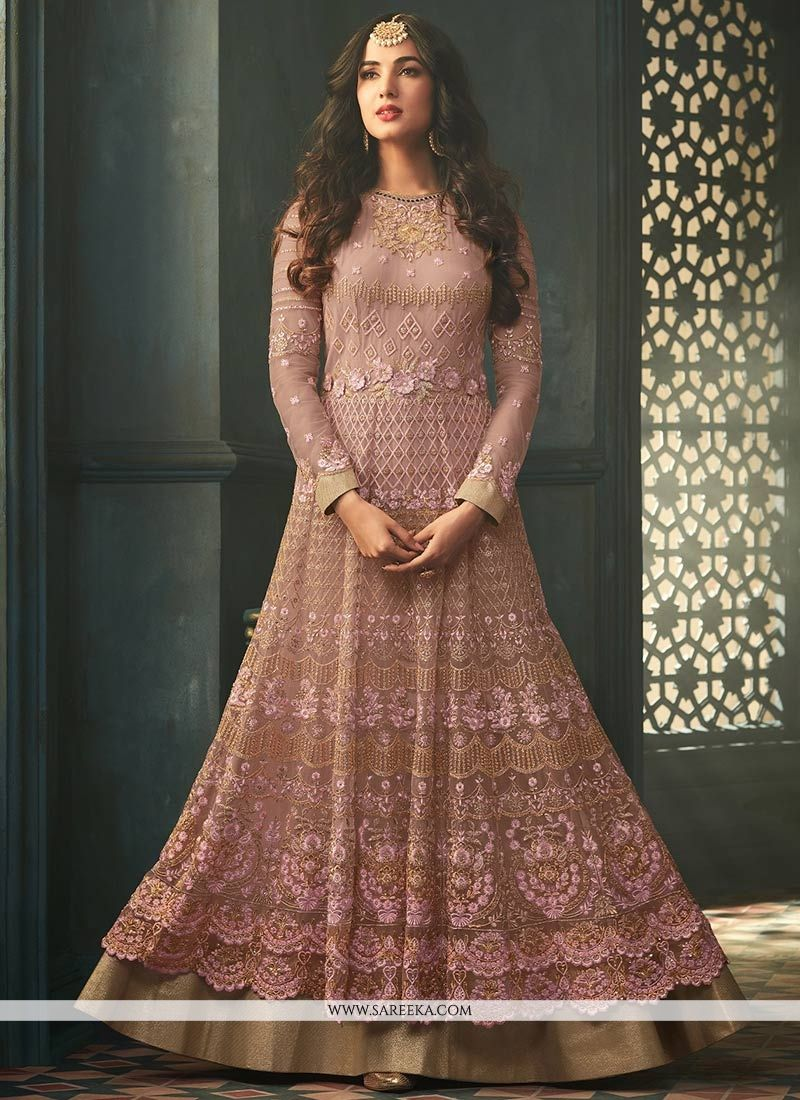 Net Embroidered Work Anarkali Suit