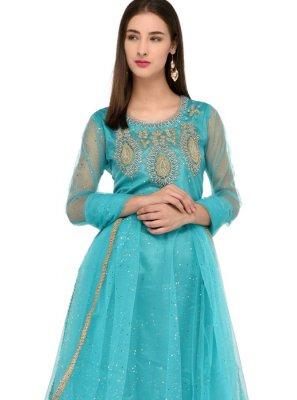 Net Aqua blue Anarkali Salwar Kameez