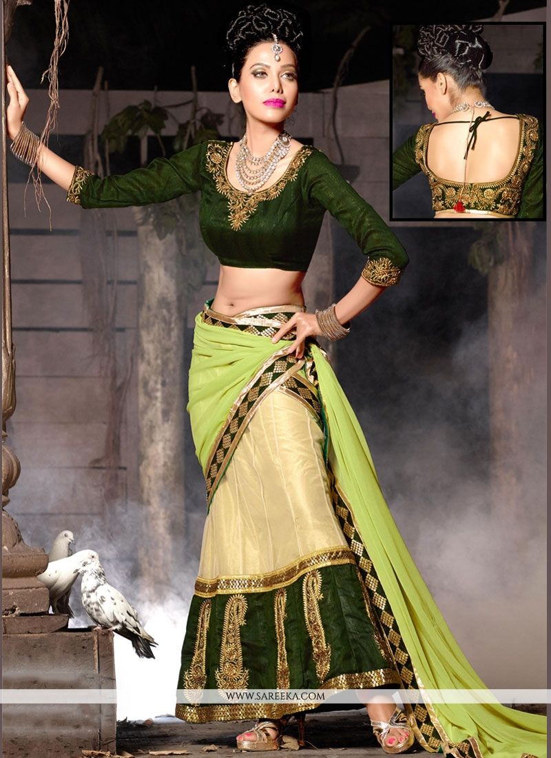 Net Green Embroidered Work Lehenga Choli