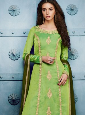 Net Green Embroidered Work Pant Style Suit