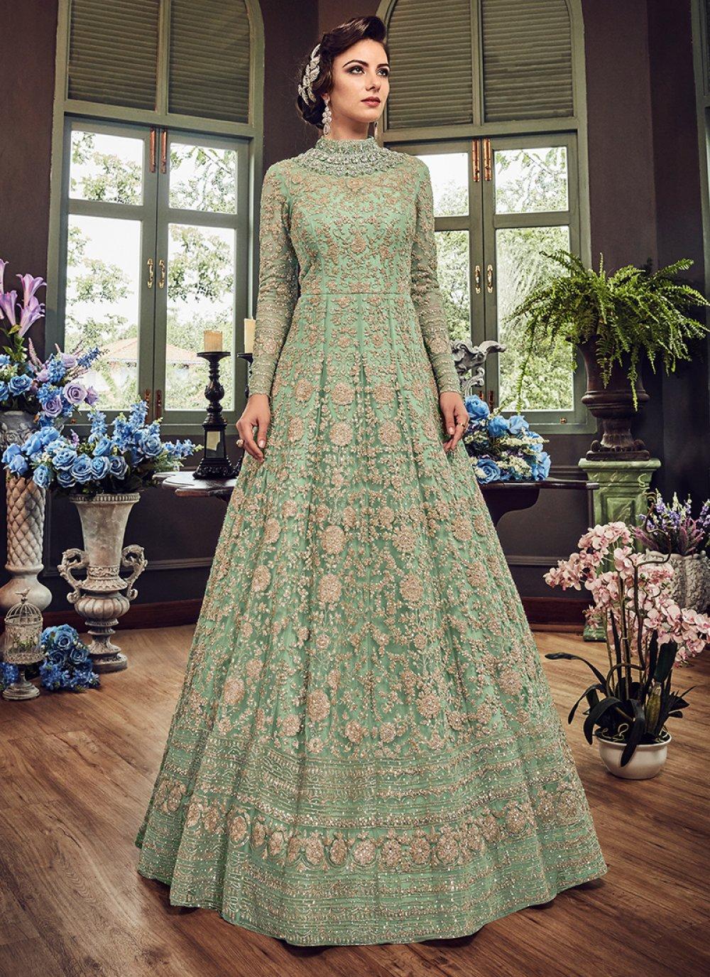 Net Green Floor Length Anarkali Suit
