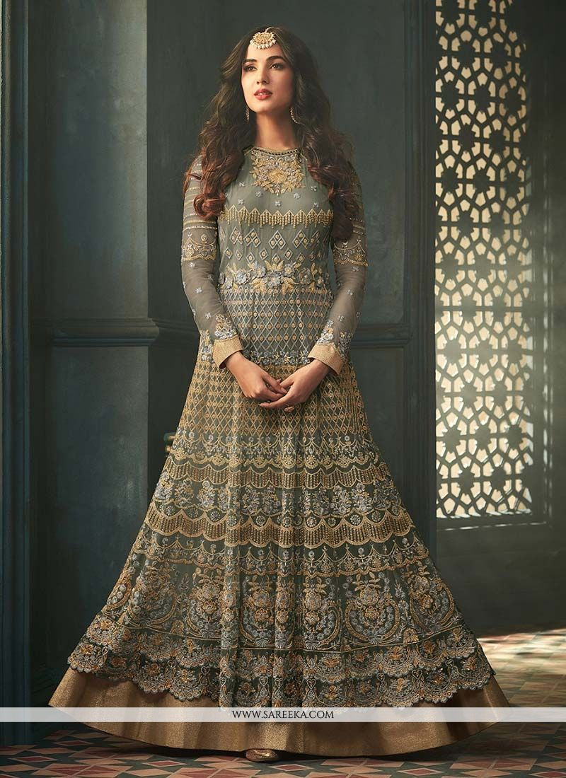 Net Grey Embroidered Work Anarkali Suit