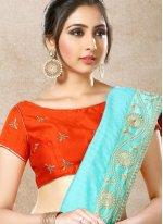 Net Hand Work Work Designer Half N Half Saree