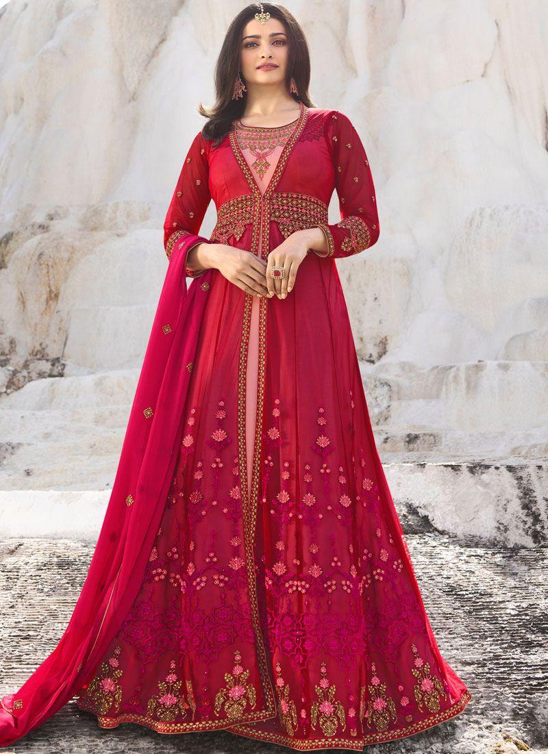 Net Hot Pink Embroidered Anarkali Salwar Kameez