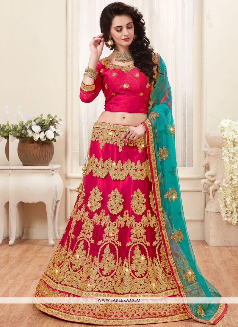 Net Hot Pink Lace Work Lehenga Choli