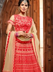 Net Lehenga Choli in Red