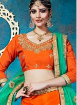 Net Orange Lehenga Choli