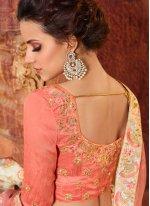 Net Peach Embroidered Work Lehenga Choli