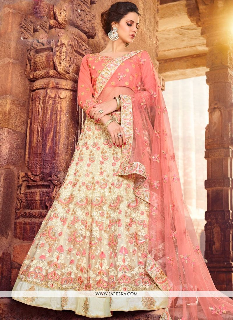Net Peach Embroidered Work Lehenga Choli