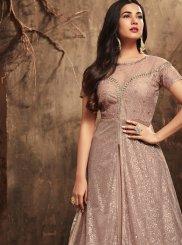 Net Pink Embroidered Work Floor Length Anarkali Suit