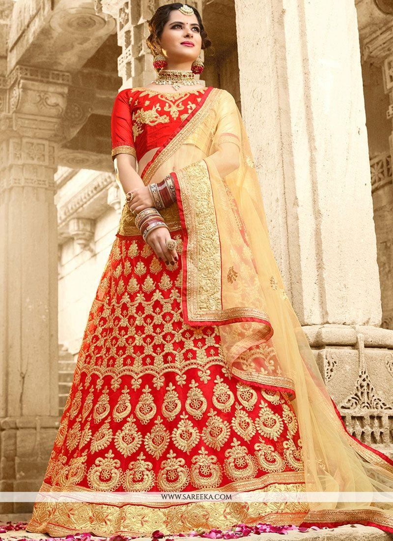 Net Red Lace Work Lehenga Choli