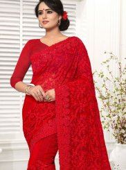 Net Red Resham Saree
