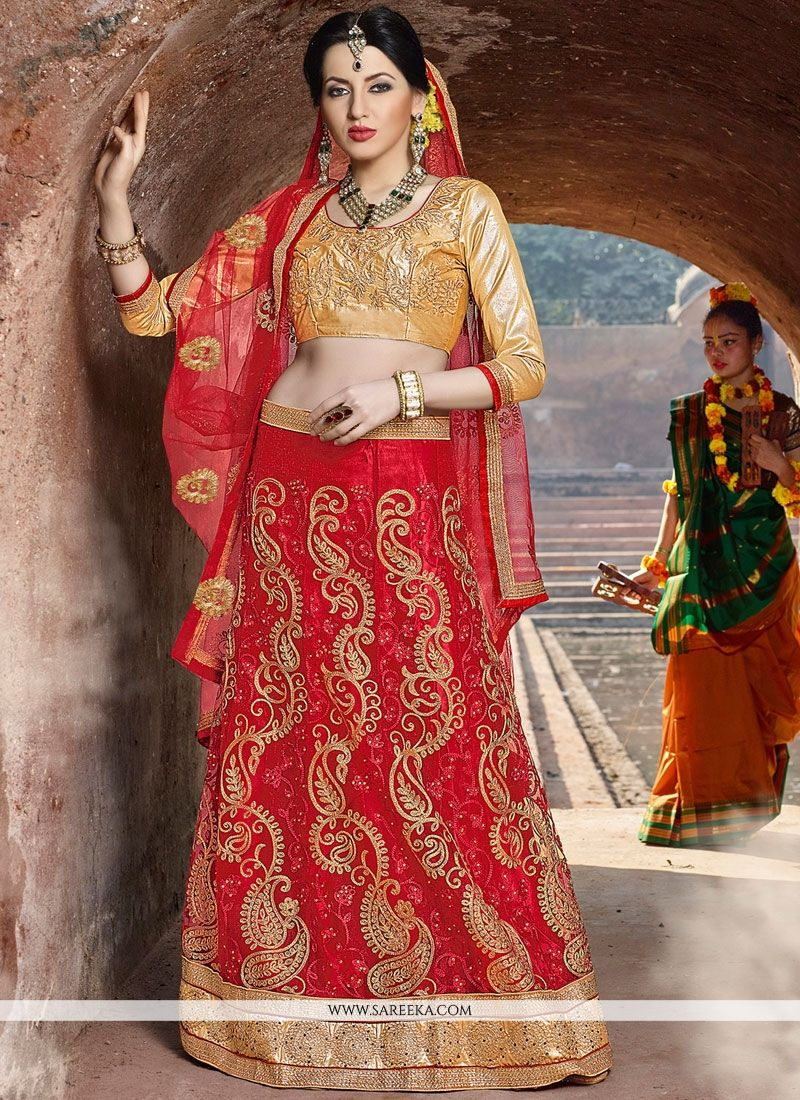 Net Red Zari Work Lehenga Choli