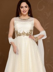 Net Resham White Readymade Anarkali Suit