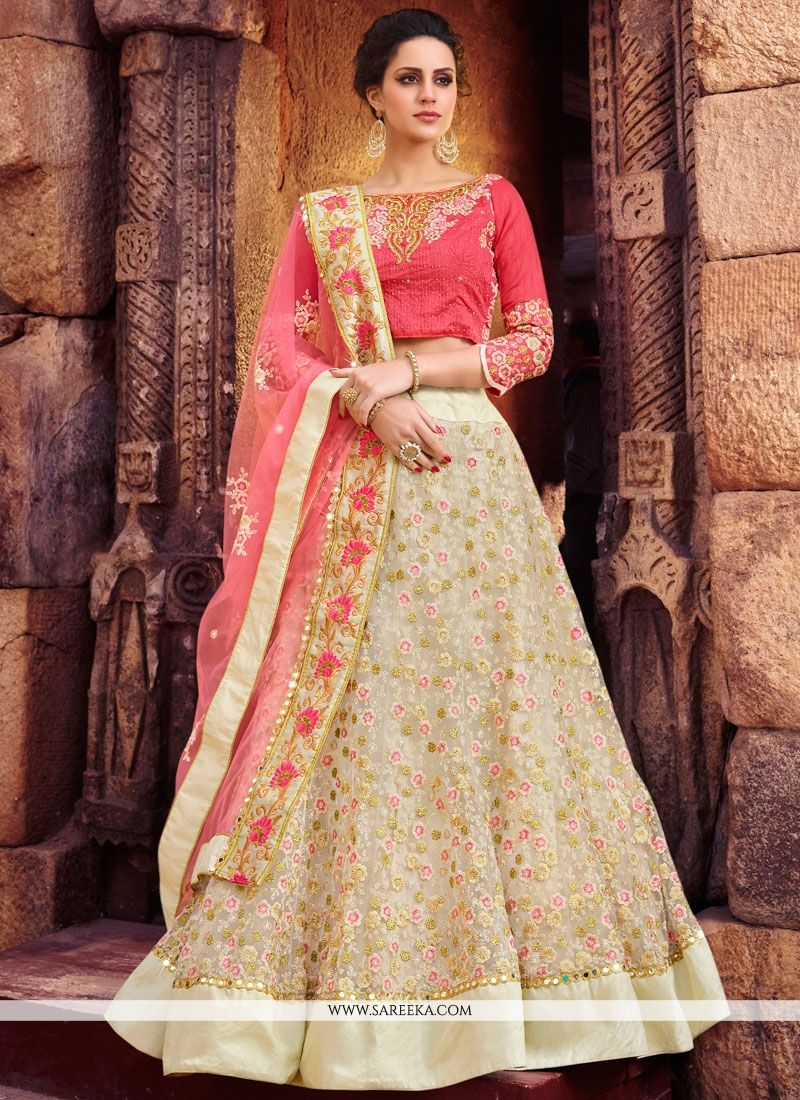 Net Rose Pink Resham Work Lehenga Choli