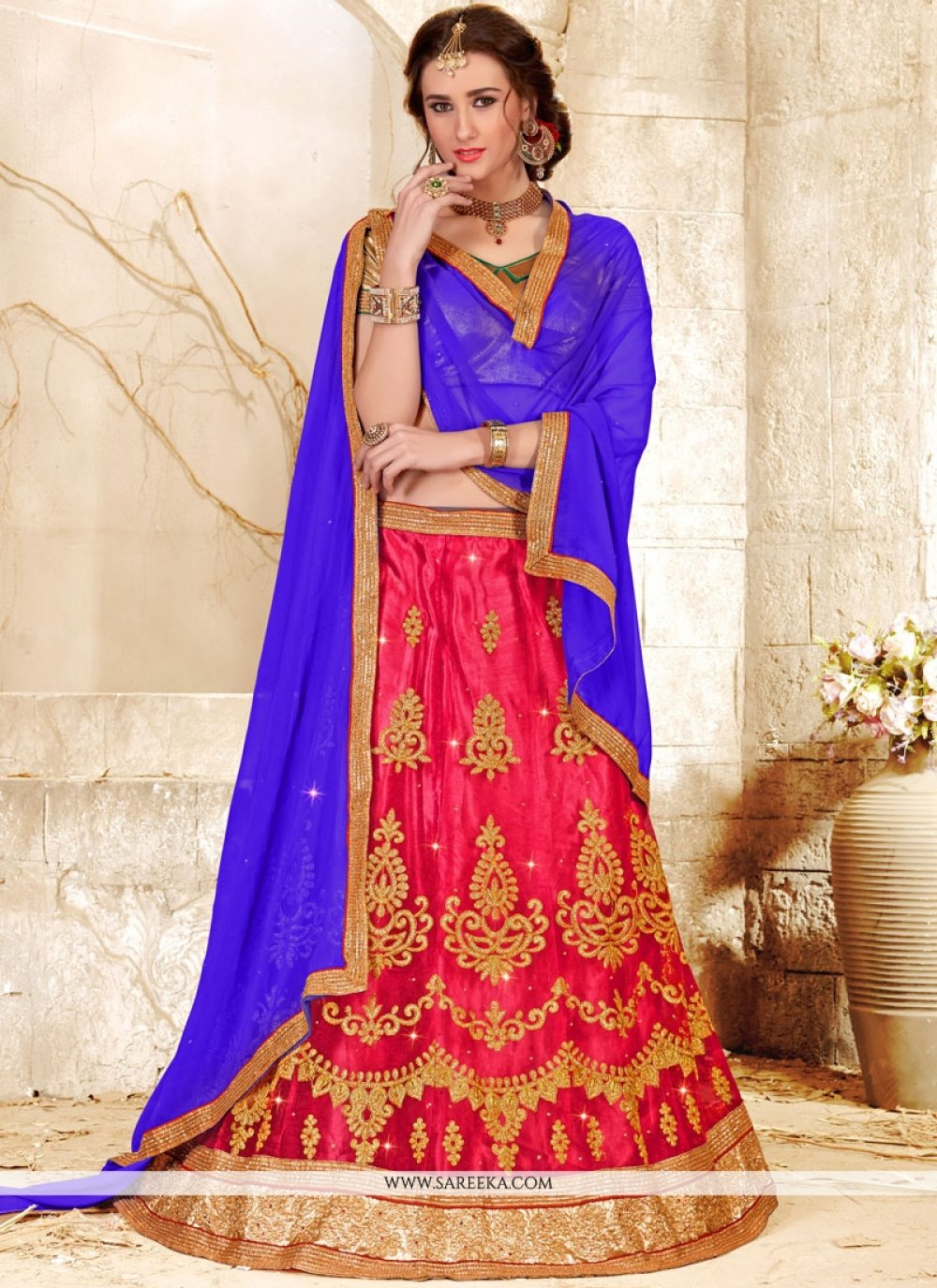 Net Rose Pink Resham Work Lehenga Choli