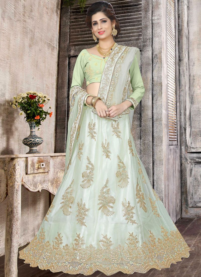 6e320ccc9c Shop Net Stone Work Green Trendy Lehenga Choli Online : 95981 -