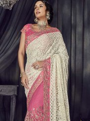 Off White and Pink Embroidered Faux Georgette Half N Half  Saree