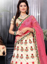 Off White and Pink Resham Work Designer Lehenga Choli