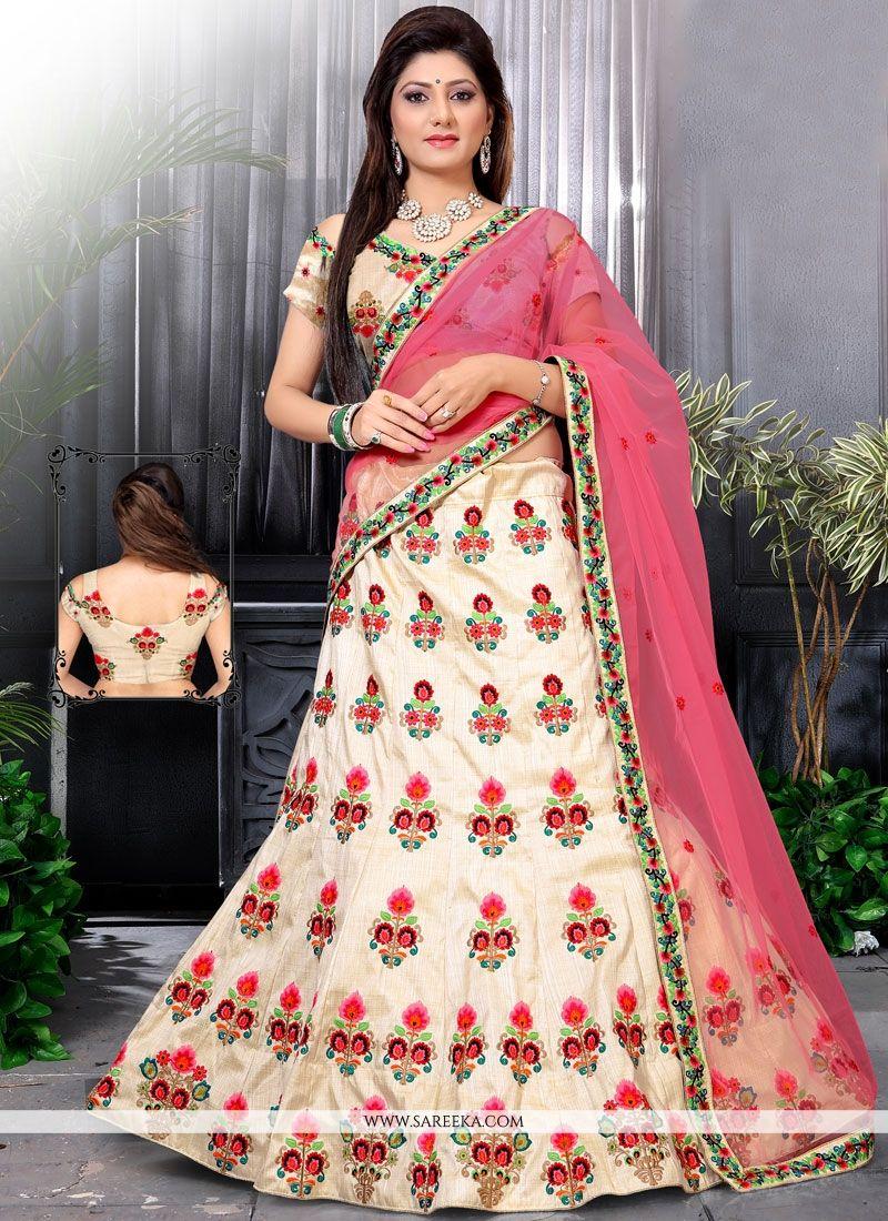 Off White and Pink Resham Work Designer Lehenga Choli