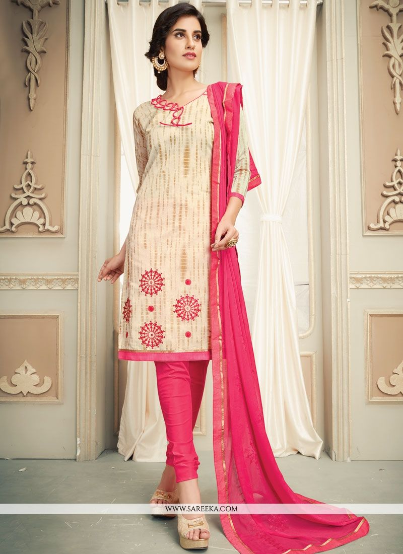 Off White and Red Salwar Kameez