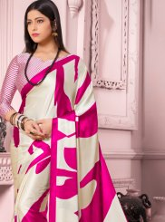 Off White and White Casual Satin Silk Casual Saree
