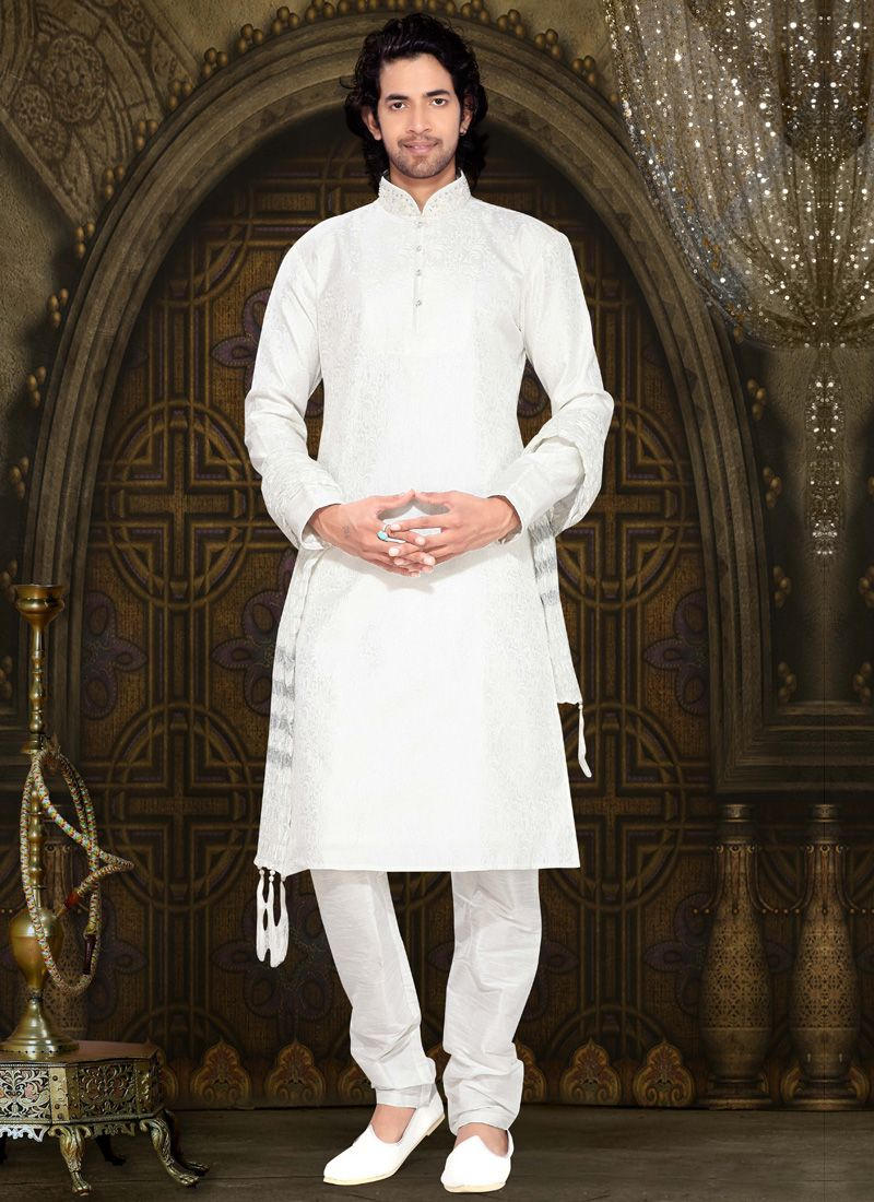 Off White Art Silk Kurta Pyjama with Bead