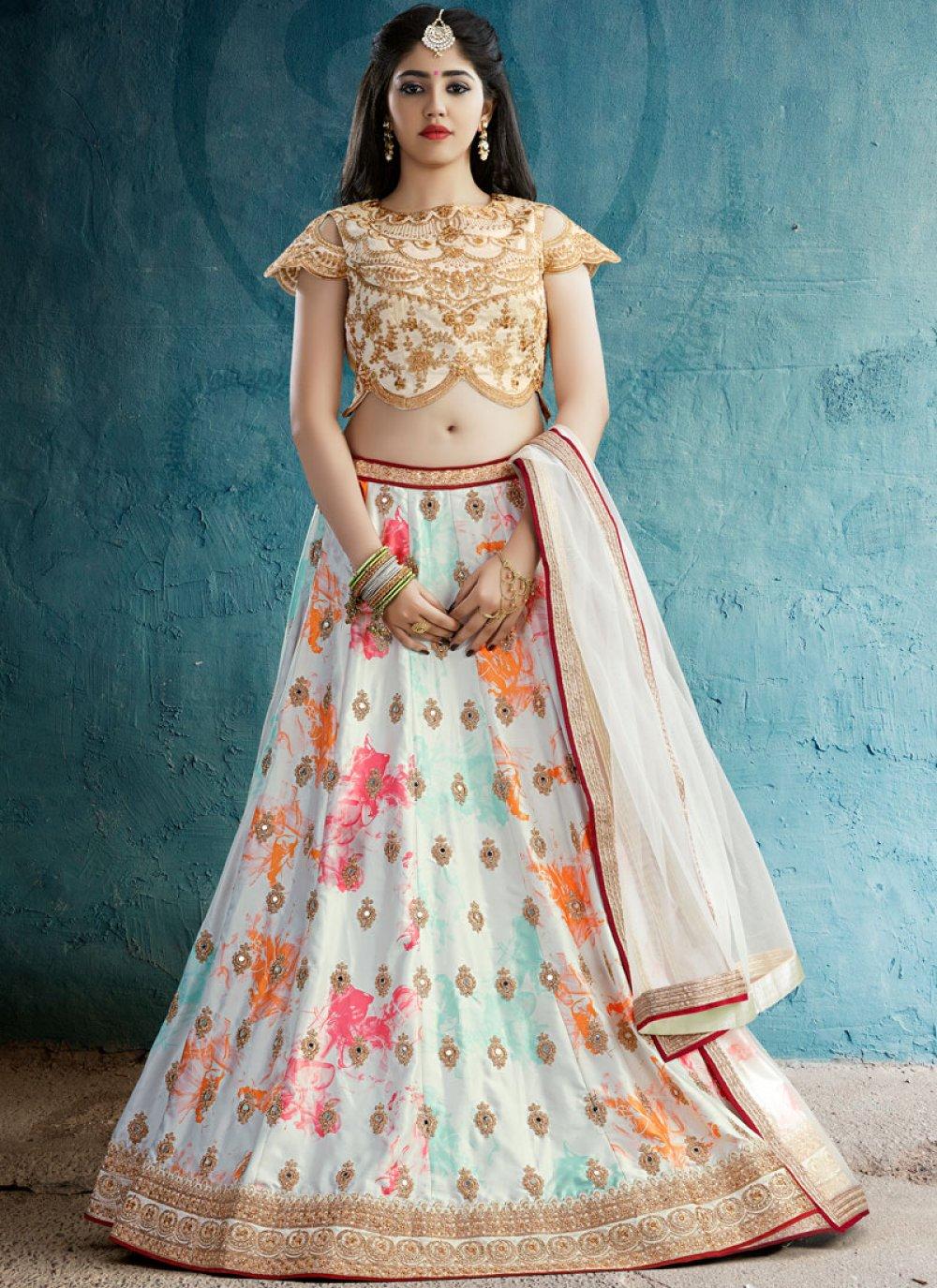 Off White Crepe Silk Designer Lehenga Choli