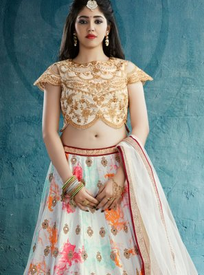 Off White Crepe Silk Designer Lehenga Choli