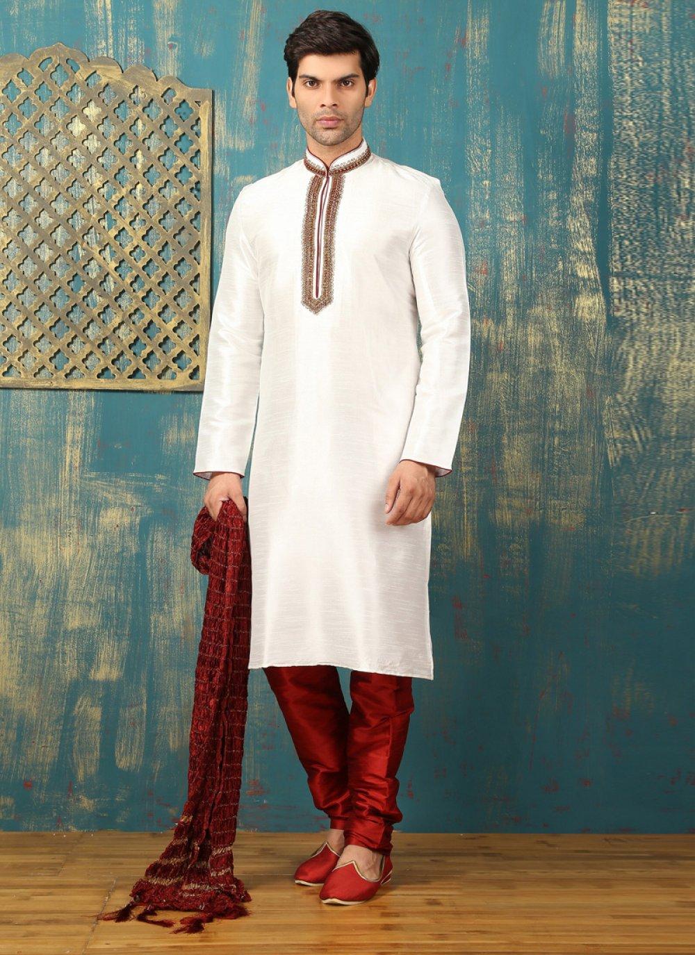 Off White Dupion Silk Kurta Pyjama with Embroidered