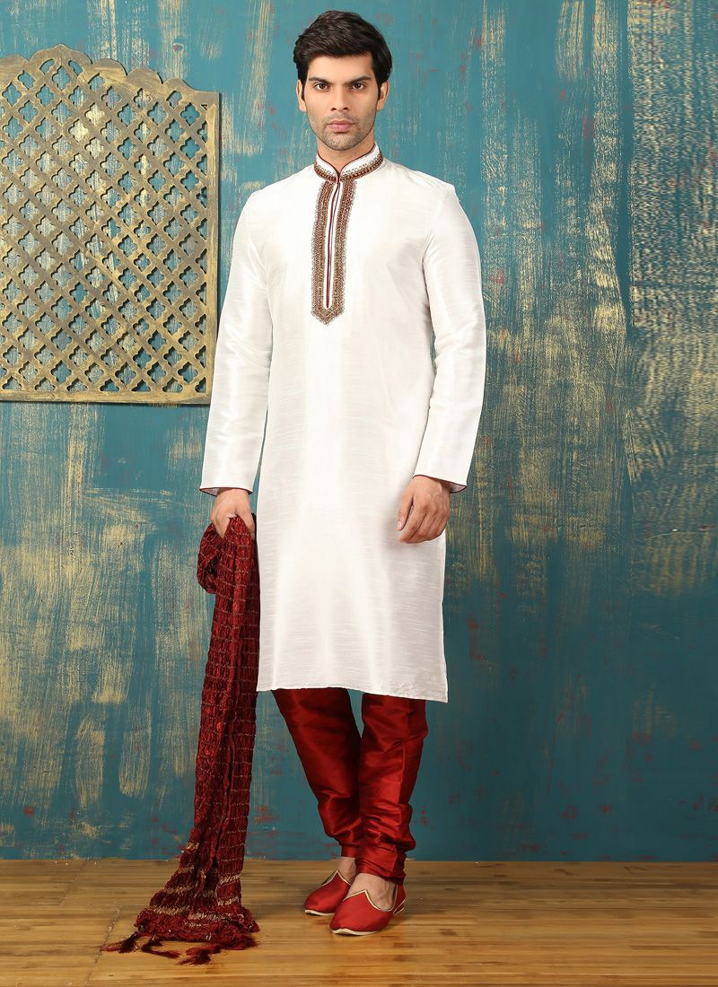 Off White Dupion Silk Kurta Pyjama with Embroidered