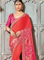 Orange and Pink Art Silk Bridal Shaded Saree