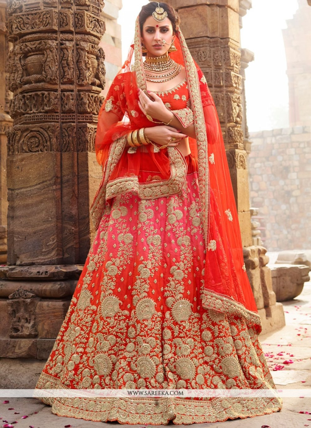 Orange and Pink Art Silk Lehenga Choli