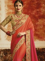 Orange and Pink Embroidered Work Art Silk Shaded Saree